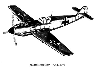 Original digital sketch. World War 2 vintage aircraft. German fighter plane.