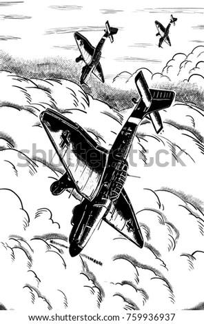 Original Digital Sketch World War 2 Stock Illustration 759936937