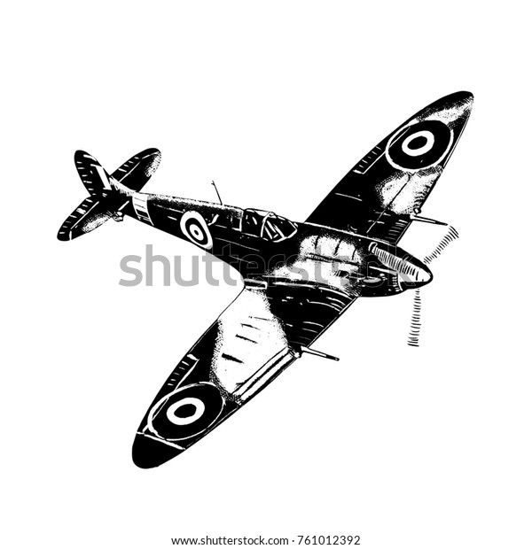 Original digital sketch. World War 2 vintage aircraft. British fighter plane.