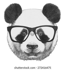 e112ad30fd7b Hand Drawn Panda Sunglasses Stock Vector (Royalty Free) 580445860 ...