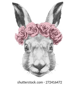 Original drawing of Rabbit  with roses. Isolated on white background