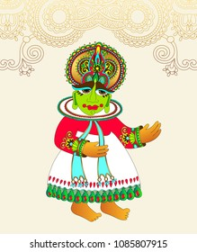 original drawing of traditional indian kathakali dancer to onam holiday design and travel card, raster version illustration