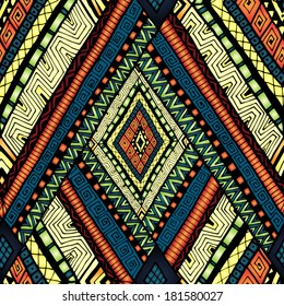 Original drawing tribal doddle rhombus. Seamless pattern with geometric elements.