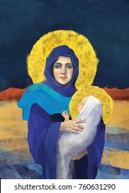 Original freehand Virgin Mary holding Baby Jesus illustration/painting in full color