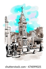 original freehand watercolor travel card from Rome Italy, old italian imperial building with people walking, travel book raster version illustration