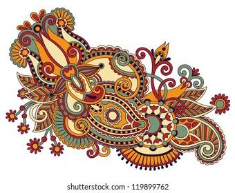 original hand draw line art ornate flower design. Ukrainian traditional style. Raster version
