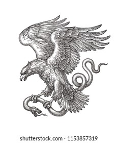 Original hand drawn black and white illustration, flying eagle with a snake in claws.