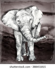 Original Hand Drawn Elephant Sketch in Pencil with Landscape Background