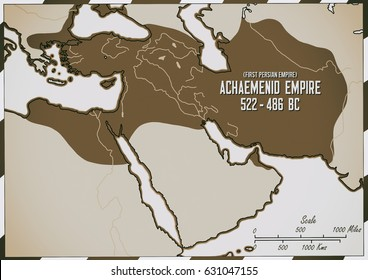 Original hand drawn map. The Achaemendid Empire in 522 - 486 B.C. This is referred to as the First Persian Empire. Under the rule of Darius 1  the empire was at its largest size by 486 .B.C.