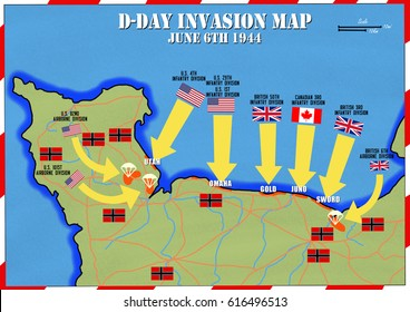 Original hand drawn map. D-Day Invasion of Normandy, France. Beach code names and military units listed. Allies invaded German occupied Europe. 6th June 1944