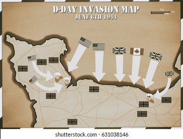Original hand drawn map. D-Day Invasion of Normandy, France . Allies invaded German occupied Europe. 6th June 1944