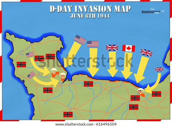 Original Hand Drawn Map Dday Invasion Stockillustration 616496504 on