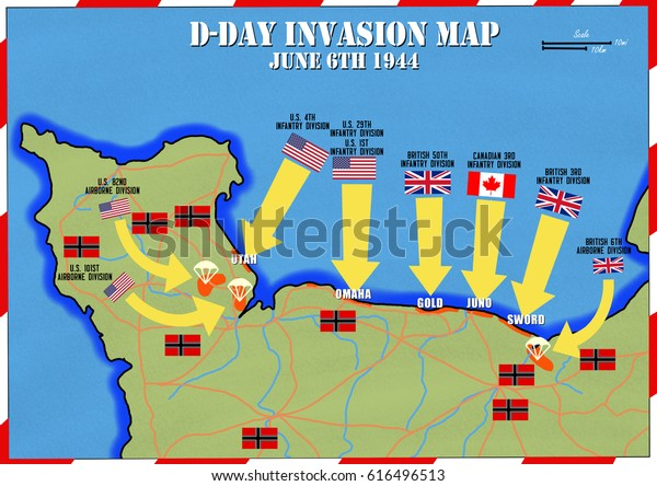 D Day Invasion Map Original Hand Drawn Map Dday Invasion Stock Illustration 616496513