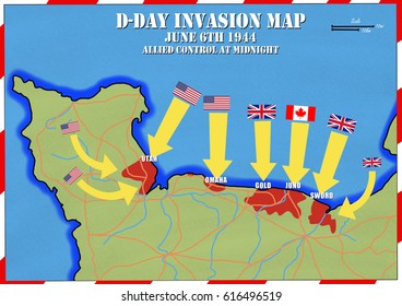Original hand drawn map. Extent of allied control at mid night. D-Day Invasion of Normandy, France. Allies invaded German occupied Europe. 6th June 1944