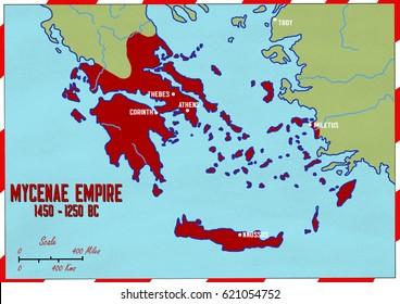 Original hand drawn map. Mycenae Empire in 1450-1250 BC. Maps show major Mycenaen cities.