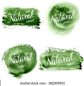 Original hand lettering Natural and watercolor design elements. Handmade calligraphy.  Can be use for logo, poster, icon, print and web projects. Raster version