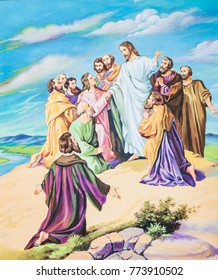 original hand painted by oil paint  show Jesus give the great commandment  for his disciple and command them to go to proclaim gospel to all nation that mentioned in bible verses Matthew 28 : 19-20