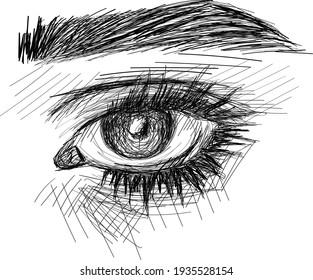 Original Hand-drawn  sketch eye art