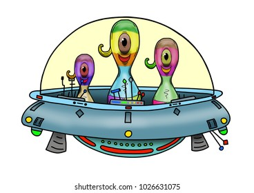 Original handrawn digital image of a wacky alien in a UFO or flying saucer. Video Game, Digital CG Artwork, Concept Illustration. US Animated Cartoon Style . White Background