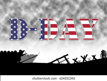 Original illustration of the allied D-Day invasion of Europe in 1944. US Flag in text.