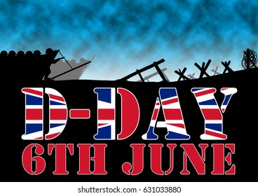 Original illustration of the allied D-Day invasion of Europe in 1944. UK Flag in text.