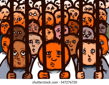 Original illustration drawing of convicted prisoners in a jail cell.