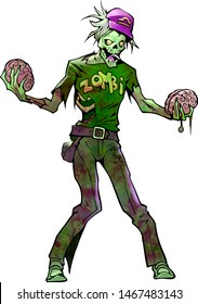 Original illustration of a funny mascot zombie as a zodiac sign libra choosing which brain to eat