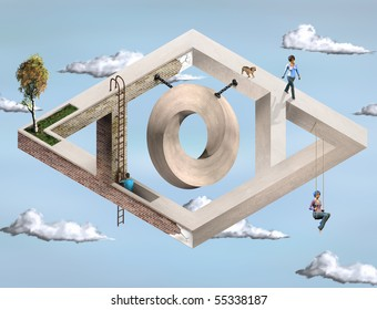 Original illustration of an impossible architectural structure