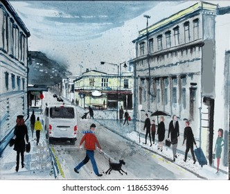 Original illustration of people shopping along busy city thoroughfare with old buildings, Petone, Lower Hutt, New Zealand.