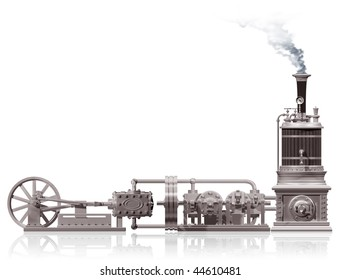 Original illustration of a steam plant motif