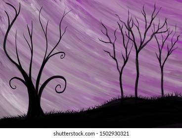 Original illustration of trees set against a purple and pink colorful sky. Digital artwork.