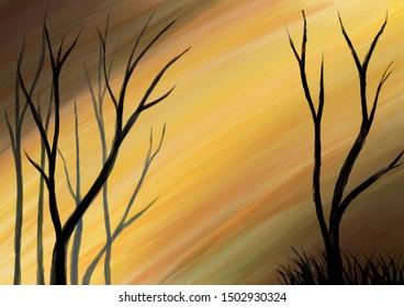 Original illustration of trees and yellow colorful sky. Digital artwork.