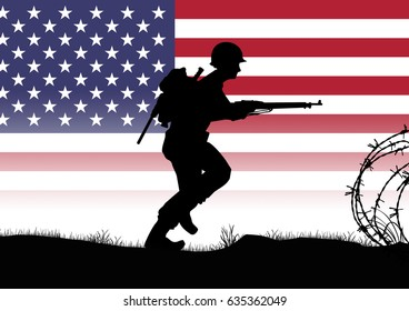Original illustration. US Infantry soldiers fight a battle in Europe during World War 2. US Flag background
