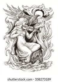 Original ink and pen drawing. Allegory of music, magic violin.