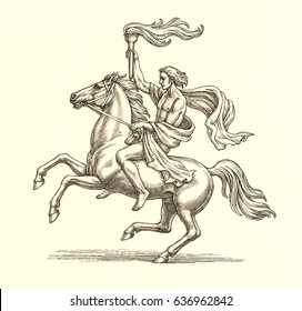 Original ink and pen drawing illustration, horse rider with a torch on white background.