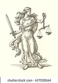 Original ink and pen drawing illustration, the allegory of justice, Themis, on white background.