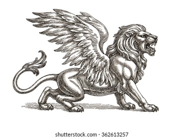 Original ink and pen drawing, winged lion on white background.