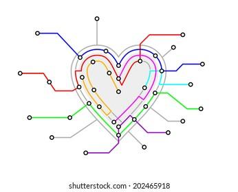 Subway Map In Heart Shape.Imagenes Fotos De Stock Y Vectores Sobre Map Heart Shutterstock