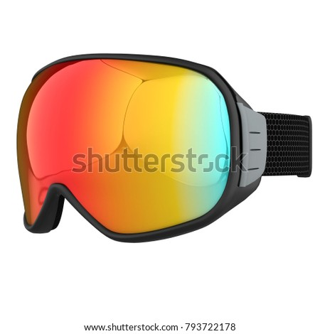 2e8fa82de06 Original Modern Snowboard Goggles. Winter sport equipment. Perspective  view. 3D render Illustration isolated on a white background. - Illustration