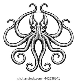 An original octopus or squid tattoo illustration concept design in a vintage woodblock style