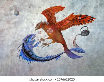 Original oil on canvas painting depicting the conflict between a phoenix and a mythological fish in a celestial battle