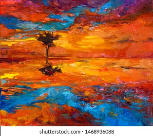 Original oil painting of abstract lonely tree in front of golden sunset  on canvas.Modern Impressionism