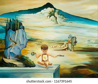 original oil painting based on Salvador Dali
