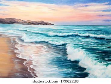 Originelle Ölmalerei des schönen violetten Sonnenuntergangs über dem Strand des Ozeans auf Leinwand.Moderner Impressionismus, Modernismus, Marinismus