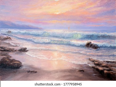 Original  oil painting of beautiful purple sunset over ocean beach and lighthouse on canvas.Modern Impressionism, modernism,marinism