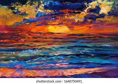 Original oil painting of beautiful sea on canvas. Rich golden sunset over ocean.Modern Impressionism