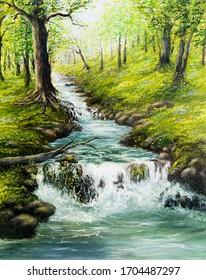 Originelle Ölmalerei des schönen Quellwaldes, der Berge und des Flusses auf Leinwand.Moderner Impressionismus, Modernismus, Marinismus