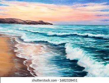 Original  oil painting of beautiful sunset over ocean beach on canvas.Modern Impressionism, modernism,marinism