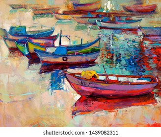 Original oil painting of boats and jetty(pier) on canvas.Sunset over ocean.Modern Impressionism