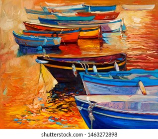 Original oil painting of boats and jetty(pier)and lighthouse on canvas.Sunset over ocean.Modern Impressionism